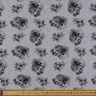 Skulls Printed French Terry Fabric