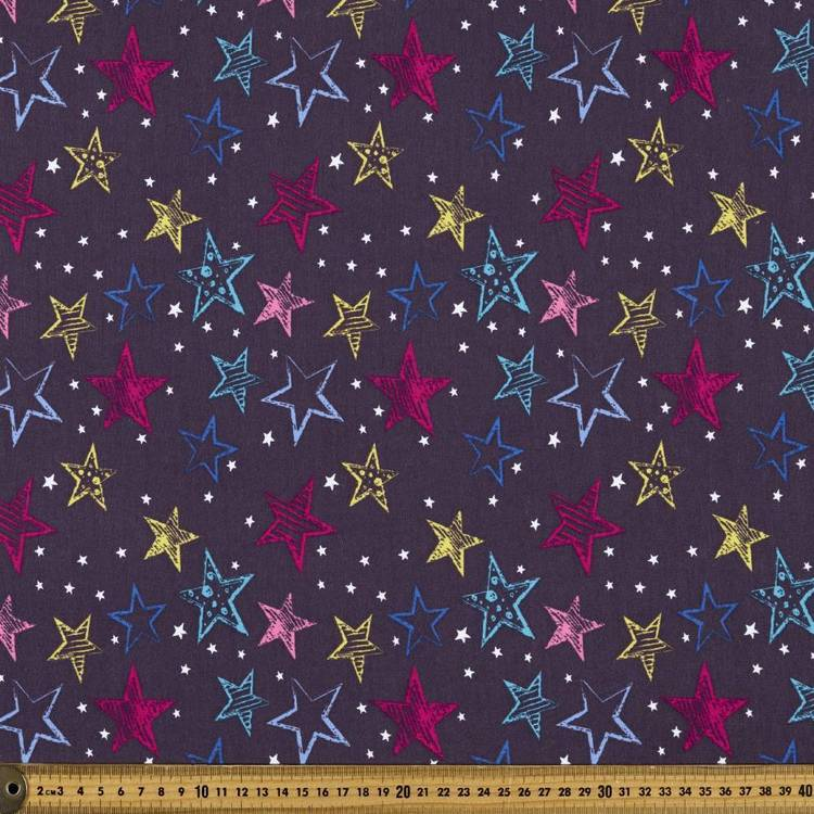 Stars Printed French Terry Fabric