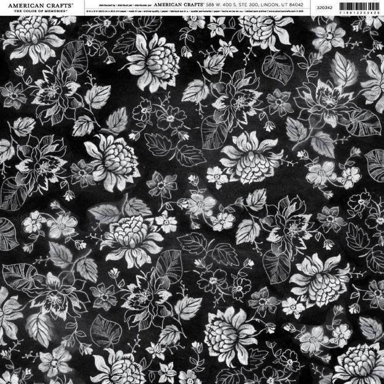 American Crafts Chalk Floral Paper Print