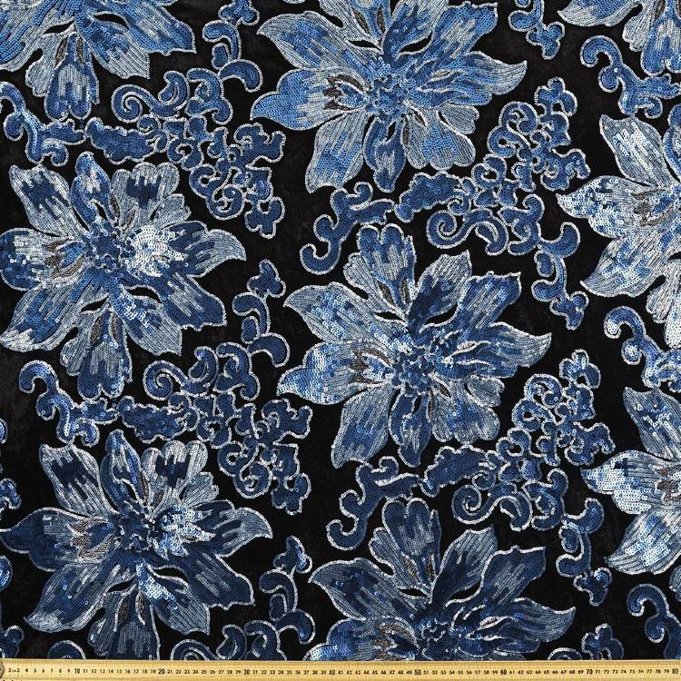 Floral Sequin Velvet Fabric