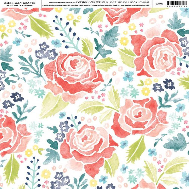 American Crafts Red Floral Print