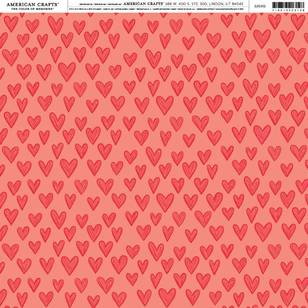 American Crafts Red Hearts Print