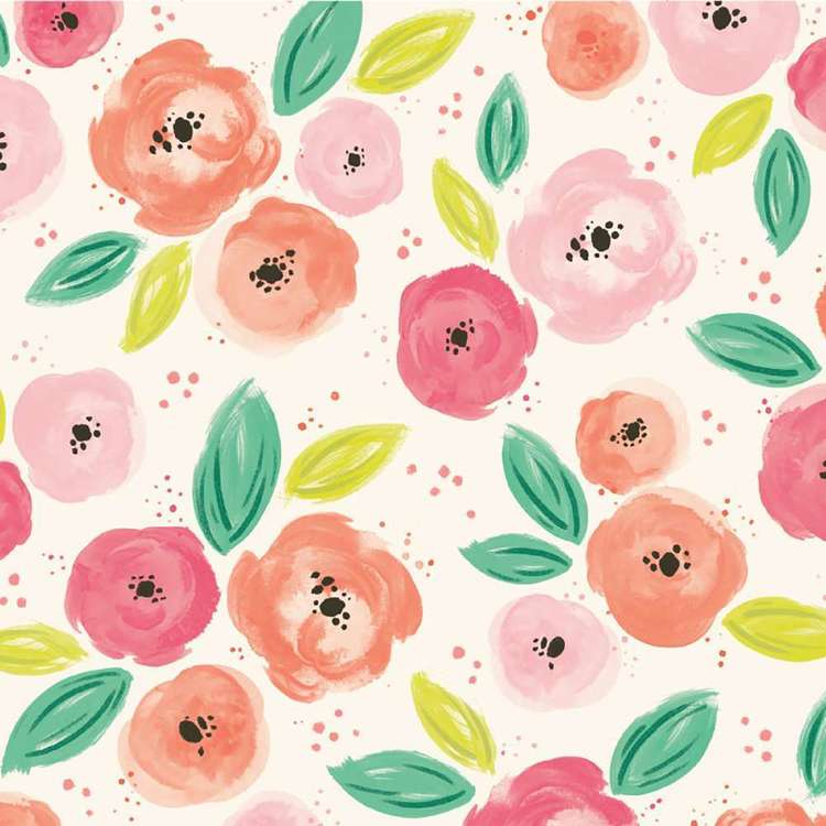 American Crafts Pink Floral Print