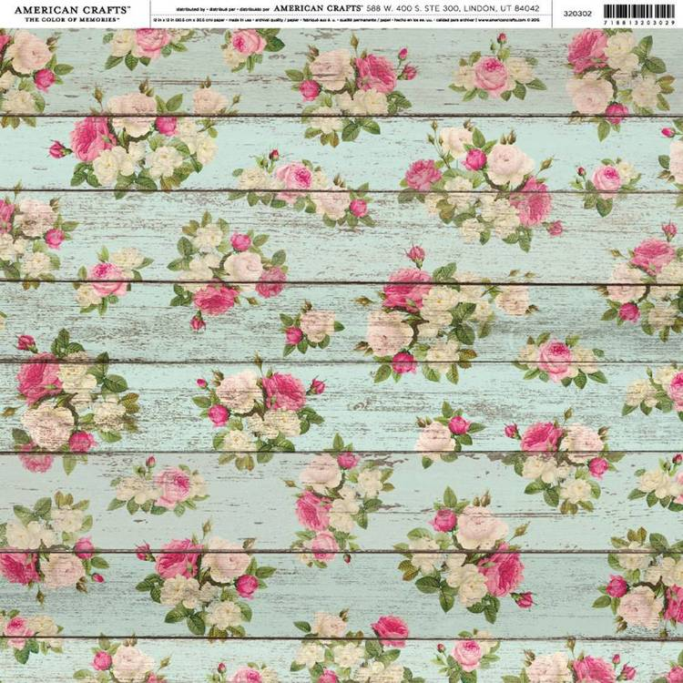American Crafts Wood Floral Print