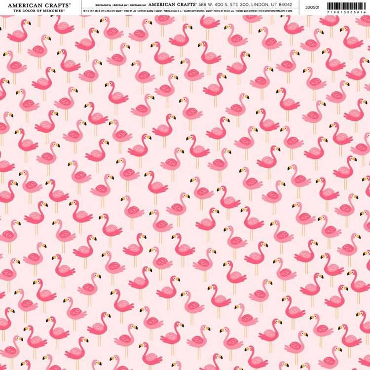 American Crafts Flamingos Print