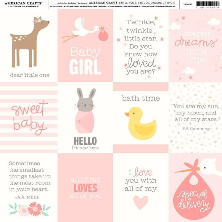 American Crafts Baby Girl Quotes Print