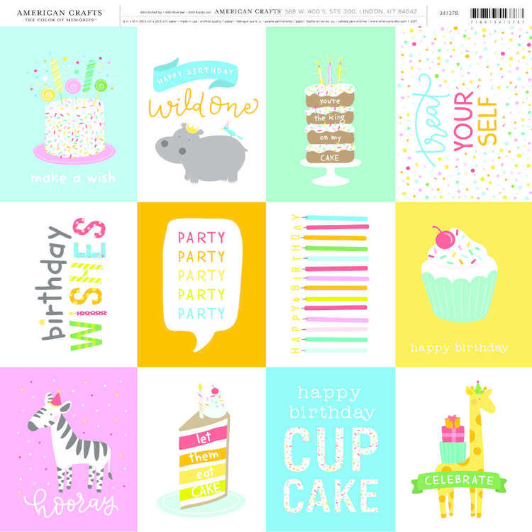 American Crafts Birthday Wishes Print Multicoloured 12 x 12 in