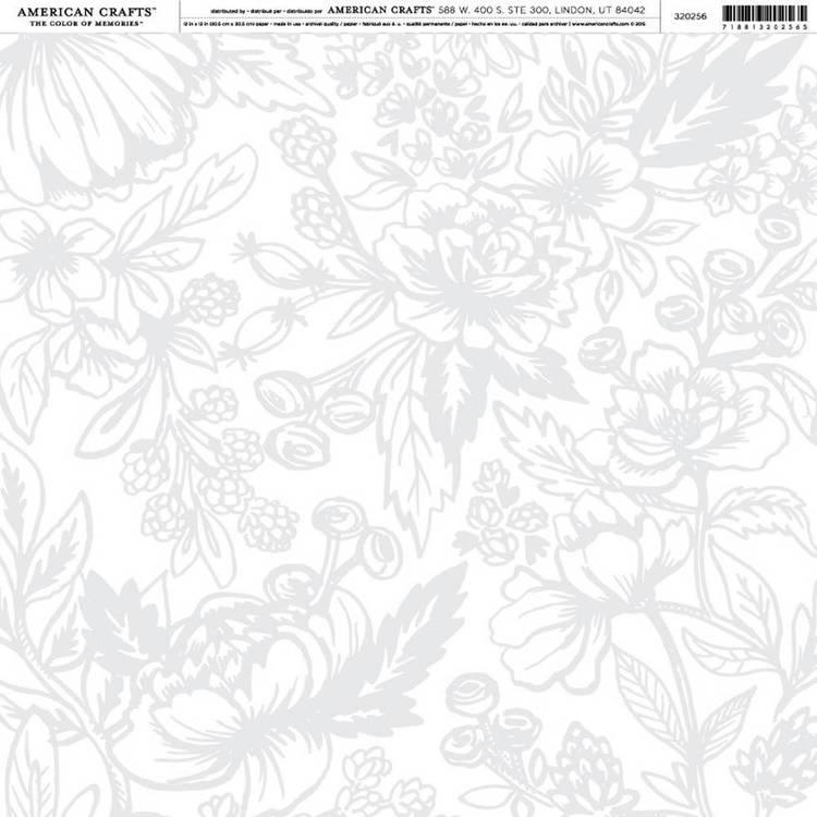 American Crafts Grey Floral Wedding Print