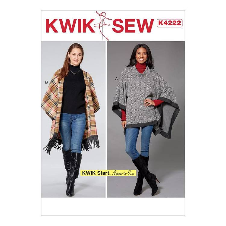 Kwik Sew Pattern K4222 Misses' Ponchos with Button Detail