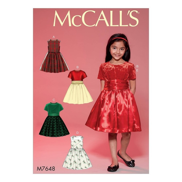 McCall's Pattern M7648 Childrens'/Girls' Gathered Dresses with Petticoat and Sash