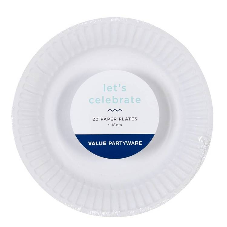 Paper Snack Plates White 20 Pack - Everyday Bargain