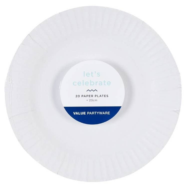 Paper Dinner Plates White 20 Pack - Everyday Bargain