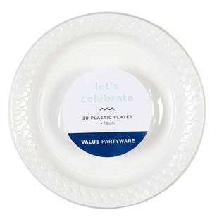 Plastic Snack Plates White 20 Pack - Everyday Bargain