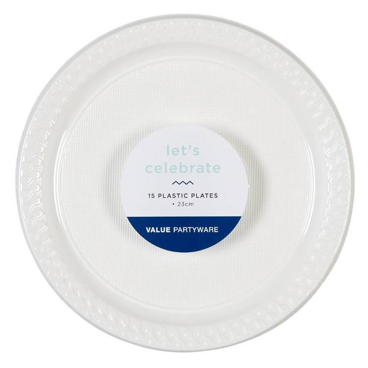 Plastic Dinner Plates White 15 Pack