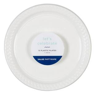 Plastic Dinner Plates White 15 Pack - Everyday Bargain