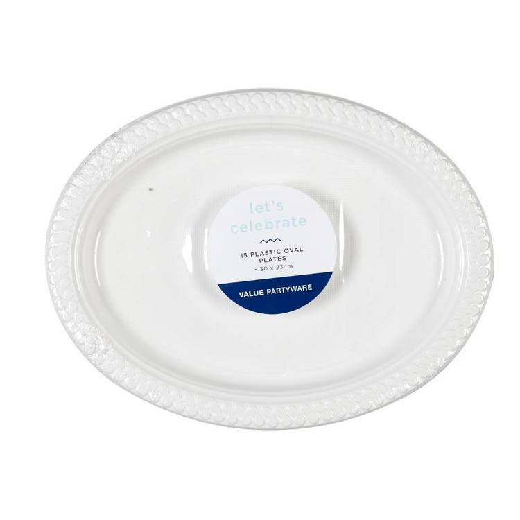 Plastic Oval Plates White 15 Pack White 30 x 23 cm - Everyday Bargain