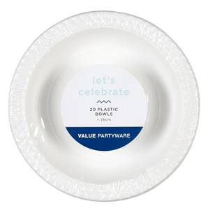 Plastic Bowls White 20 Pack - Everyday Bargain