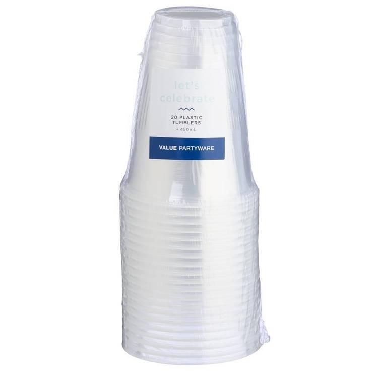Plastic Tumbler Clear 20 Pack - Everyday Bargain