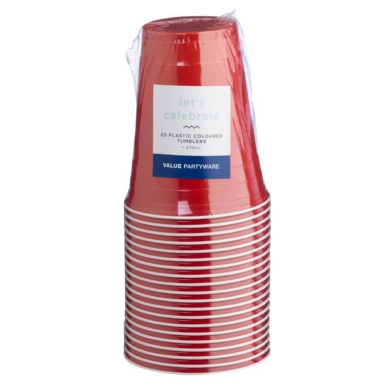 Large Plastic Tumblers Red 20 Pack - Everyday Bargain