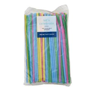 Flexible Straws Multi-Colour 100 Pack - Everyday Bargain