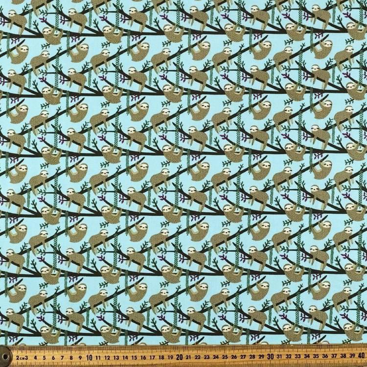 Sloths Up On Branch Printed Cotton Poplin Fabric