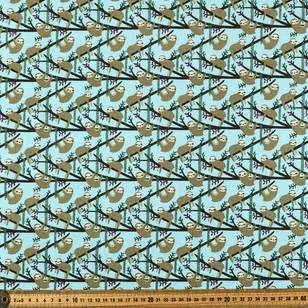 Sloths Up On Branch Printed Cotton Poplin Fabric