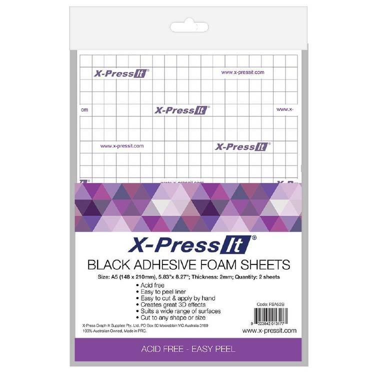X-Press It Adhesive Foam Sheets A5 2 Sheets