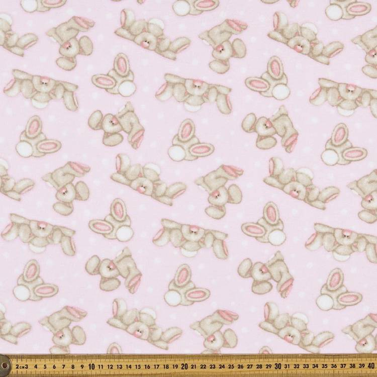 Lazy Bunny Printed 112 cm Flannelette Fabric
