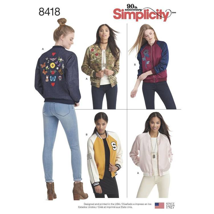 Simplicity Pattern 8418 Misses' Lined Bomber Jacket with Fabric and Trim Variations
