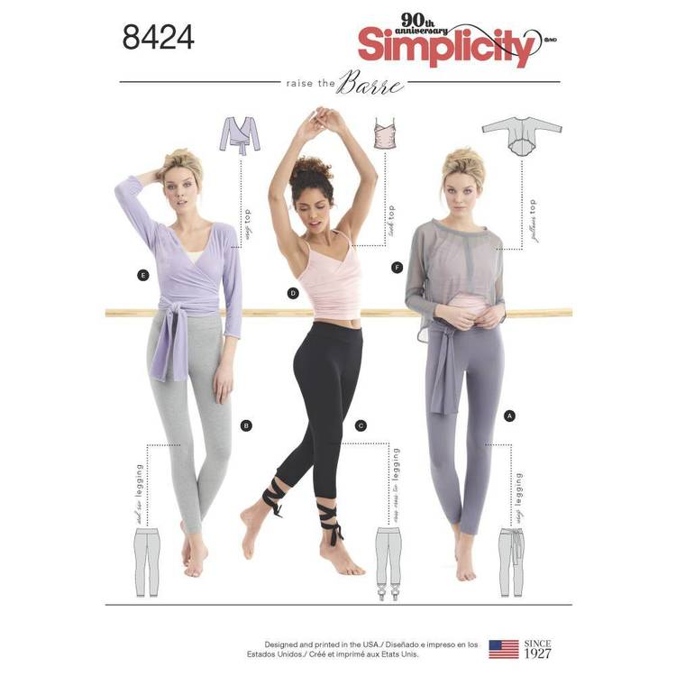 Simplicity Pattern 8424 Misses' Knit Leggings in Two Lengths and Three Top Options