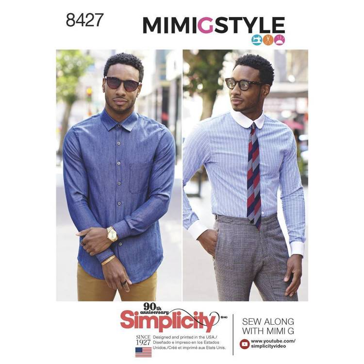 Simplicity Pattern 8427 Men's Fitted Shirt with Collar and Cuff Variations by Mimi G