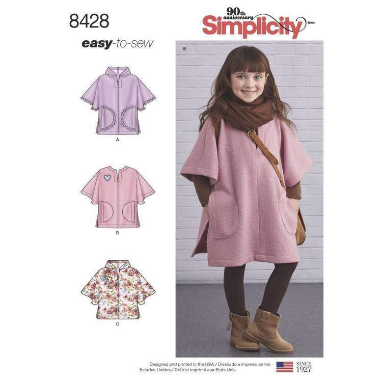 Simplicity Pattern 8428 Child's Poncho in Two Lengths