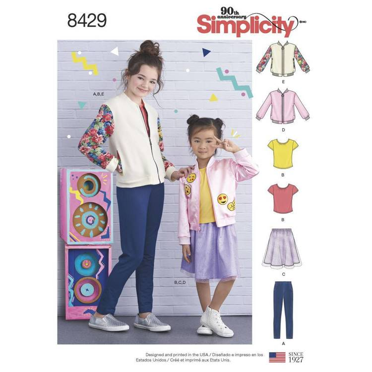Simplicity Pattern 8429 Child's/Girls' Bomber Jacket