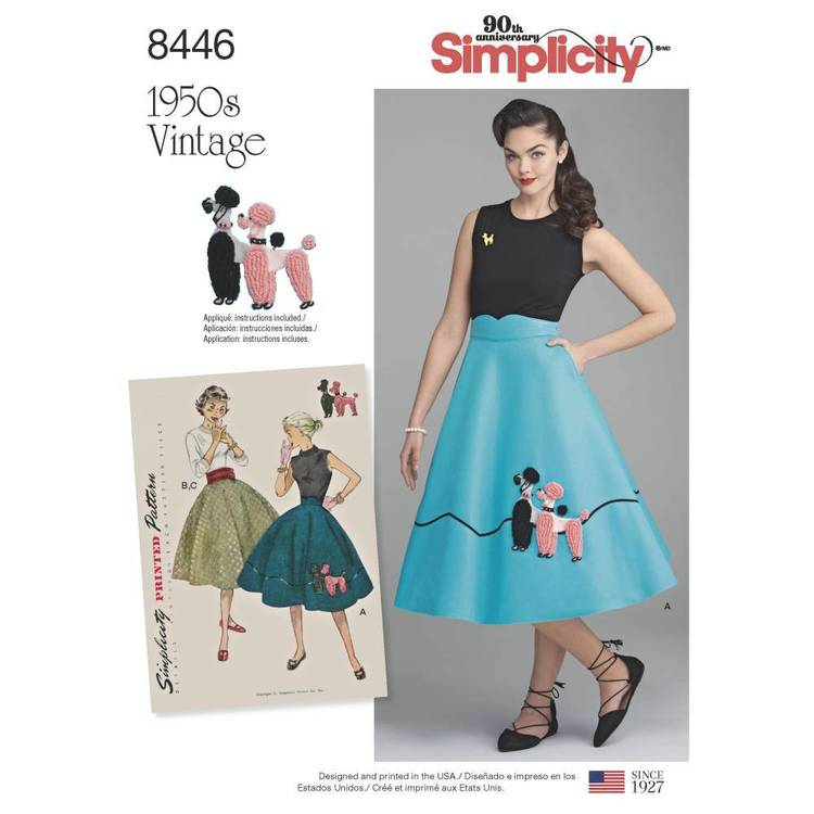 Simplicity Pattern 8446 Misses' Vintage Skirt and Cummerbund