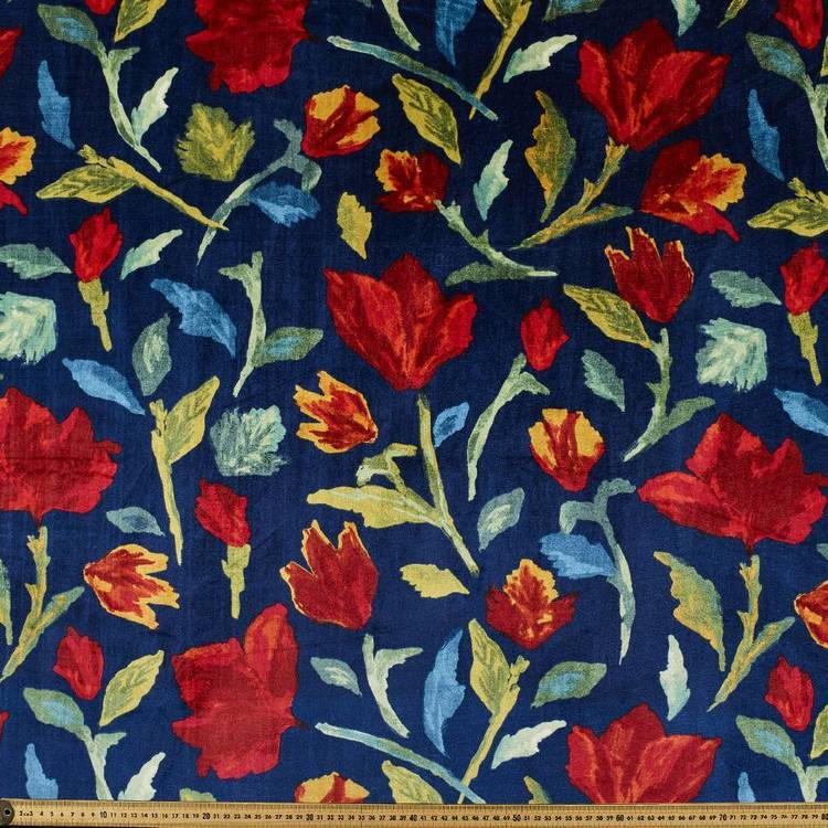 Printed Velvet #1 Floral 148 cm Fabric