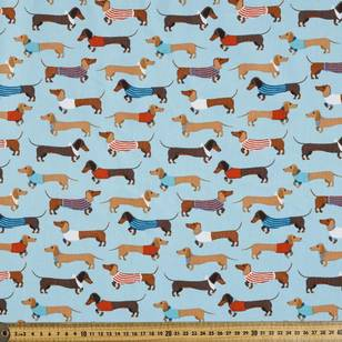 Hound dog Printed Pinwale Cotton Cord Fabric