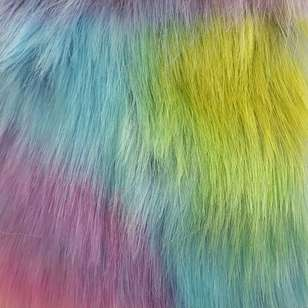 Fanfare Rainbow Printed Deluxe Faux Fur Fabric