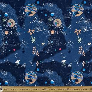 Printed Cotton Spandex Planets 150 cm Fabric
