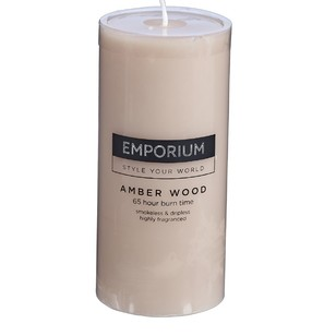 Emporium Amber Wood Scented Pillar Candle