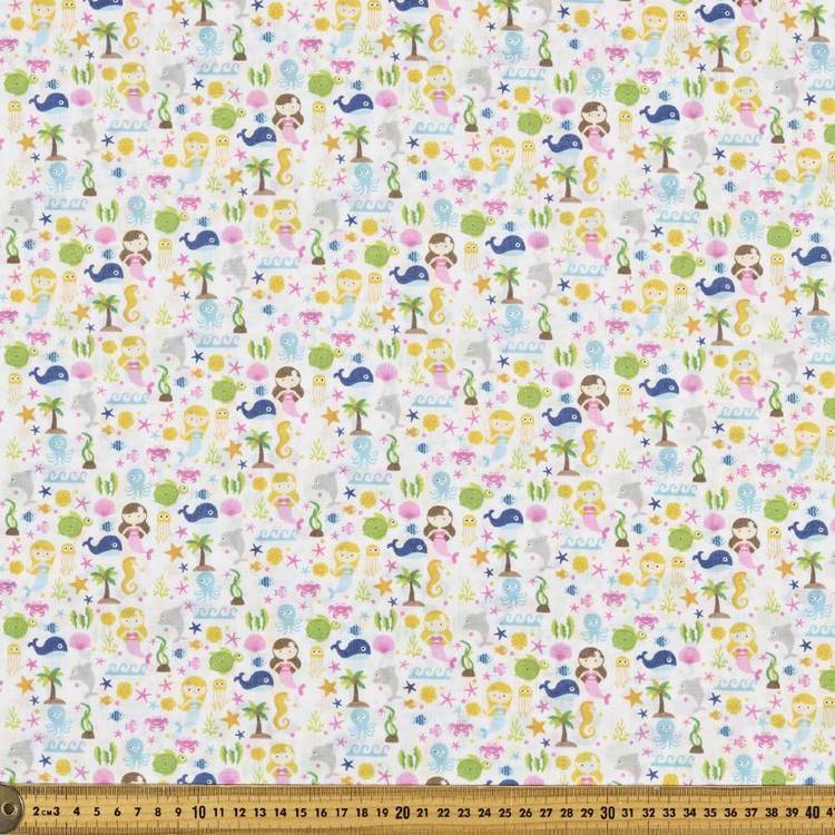 Mix N Match TC Mermaid Friends Fabric White & Multicoloured 110 cm