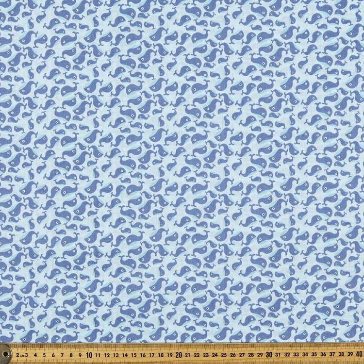 Mix N Match TC Whale Tale Fabric Blue 110 cm