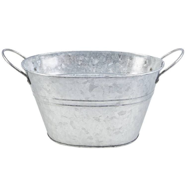 Francheville Large Oval Tin Container Silver 15 cm