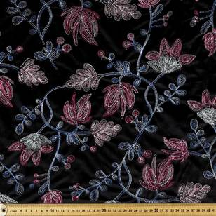 Floral Embroidered Velvet Fabric