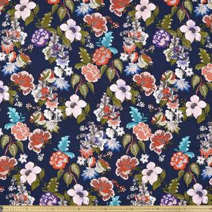 Printed Rayon Blue India Fabric