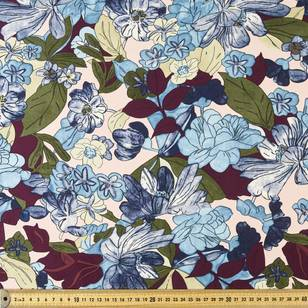 Floral Sketch Printed Sateen Fabric