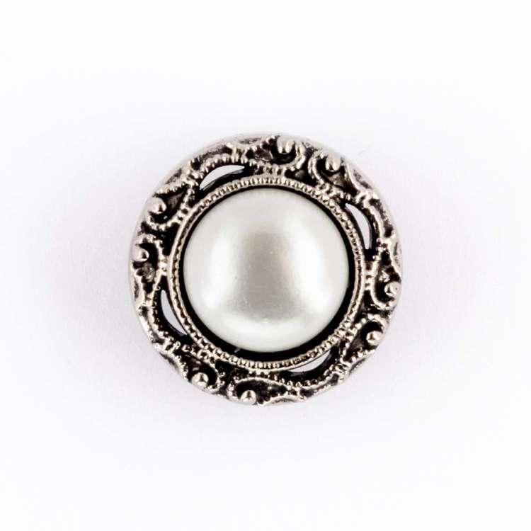 Hemline Silver Edge Pearl Button