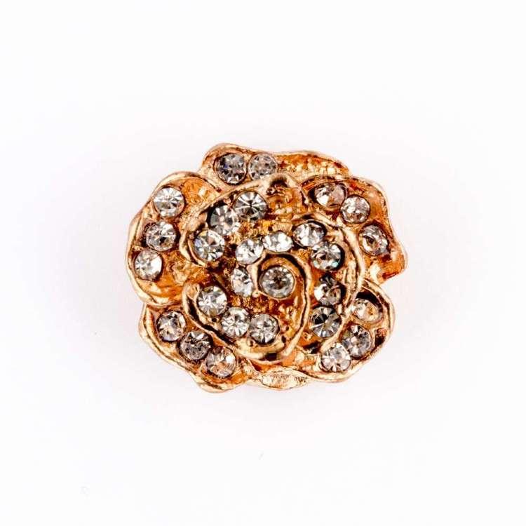 Hemline Rose Diamond Button