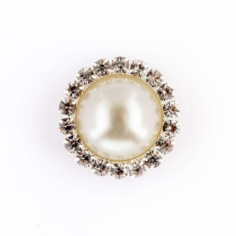 Hemline Pearl Diamond Silver Rim Button