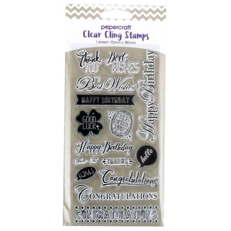 Papercraft Clear Cling Birthday Stamps