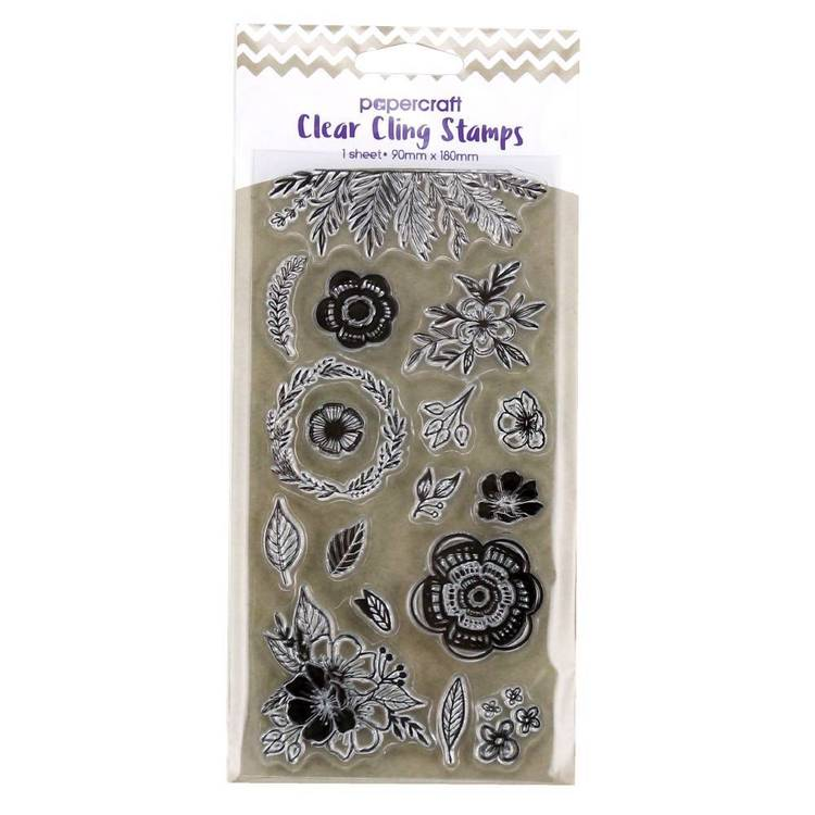 Papercraft Clear Cling Floral Stamps